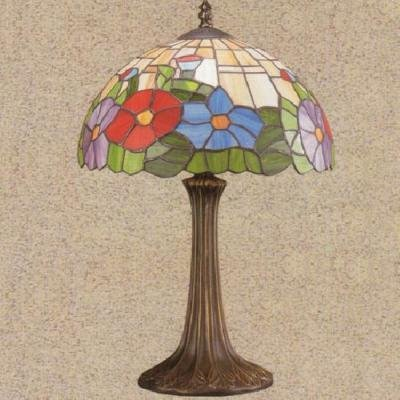 Red Blue Stained GLASS Table Lamp Flowers 11 x 19""