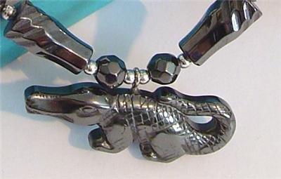 Real BLACK HEALING HEMATITE Pendant Necklace ALLIGATOR