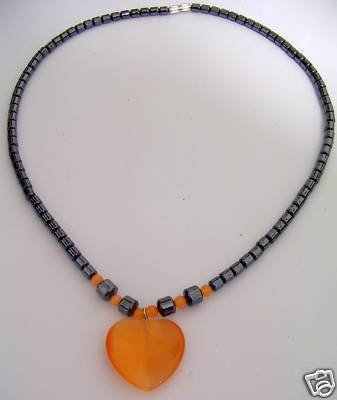 ORANGE QUARTZ HEART Pendant NECKLACE Black Hematite