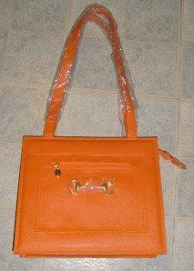 Fashion Orange PURSE Handbag BAG Simulated Leather
