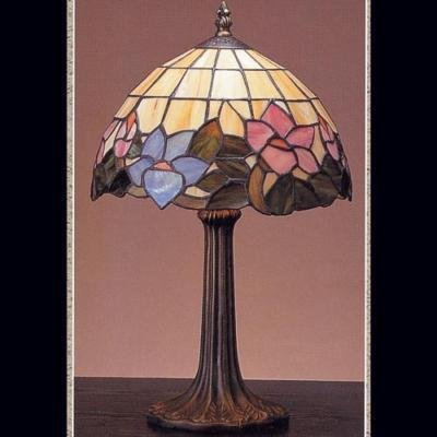 Blue Pink Stained GLASS Table Lamp Flowers 9 x 17""