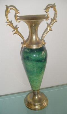 "13"" Vintage Heavy Green Vase w Gold Tone Brass Handles"