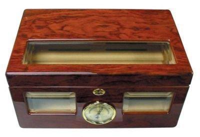 "100 Cigars Mahogany Wood HUMIDOR 14.75 x 9.75 x 7"""