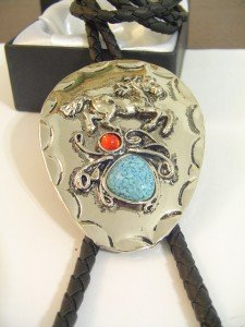 Horse Turquoise & Red BOLO TIE Cowboy WESTERN NECKLACE