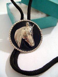 HORSE Head ROUND Black Enamel BOLO TIE WESTERN NECKLACE