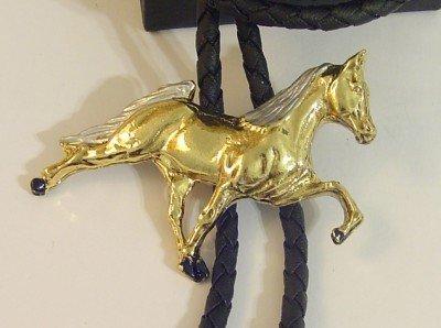 GOLD Tone Horse BOLO TIE COWBOY WESTERN NECKLACE