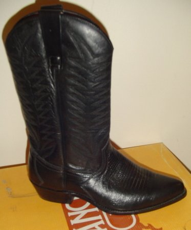 Unisex Black LEATHER COWBOY WESTERN SANCHO BOOTS New 40