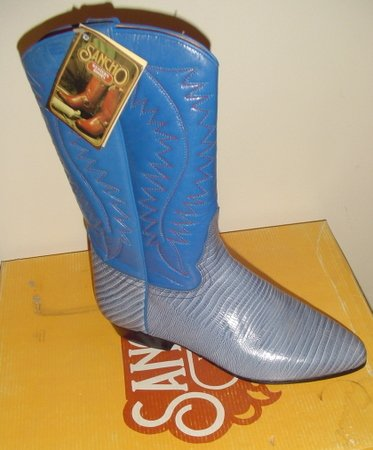 WOMEN BLUE LEATHER COWBOY WESTERN SANCHO BOOTS NEW 38