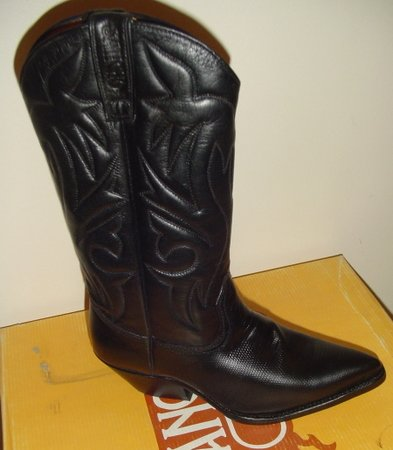 WOMEN BLACK LEATHER COWBOY WESTERN SANCHO BOOTS 36 NEW