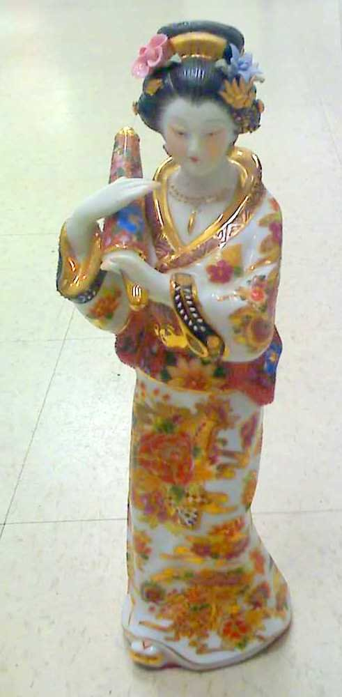 "12"" JAPANESE Porcelain GEISHA Doll FIGURINE PAINTED"