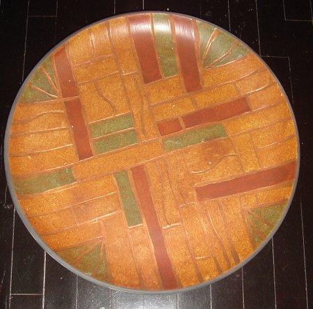 Huge 20.5 Inch Decorative Orange Mexican Ceramic PLATE