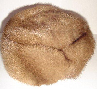 REAL Beige Tan FUR HAT Beret Hand Made Canada