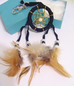 Black DREAM CATCHER KEY RING Key Chain Beads & FEATHERS