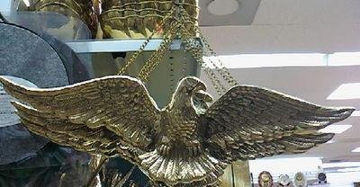 Heavy Gold Tone SOLID BRASS EAGLE To HANG on WALL