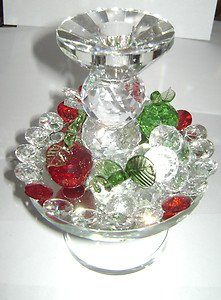Wonderful Candle Holder Austrian Crystal Grape Flower Apple Clear Red Green 7""