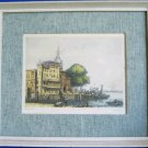 Nautical Landscape Holland Port City Vintage Colored Etching Print Signed by Carre Framed 14x12
