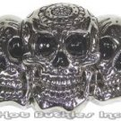 3 Headed Skull Belt Buckle