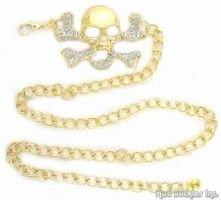 Gold Rhinstone Skull Chain