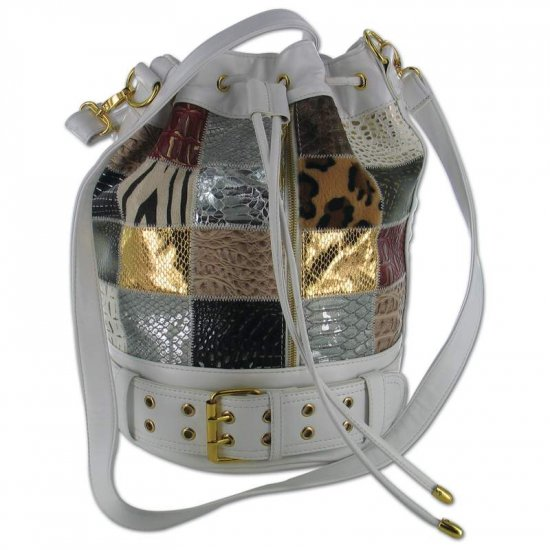 Gigi Chantal  Multi Colored Bucket Bag with White Background