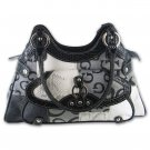 Gigi Chantal  Black Jacquard Patchwork Purse with Croco Trim