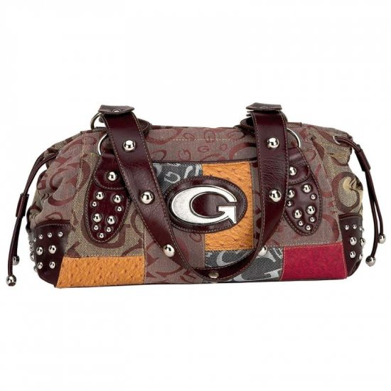 Brown Jacquard Patchwork Purse