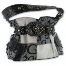 Black Jacquard Patchwork Purse with Croco Trim
