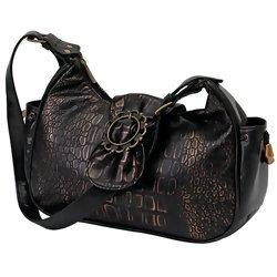 FAUX Crocodile Handbag with Antique Gold Tone Hardware
