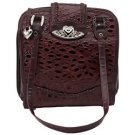 Embassy Burgundy Genuine Leather Purse with Silver Tone Hearts