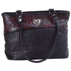 Embassy Handbag with Alligator Embossed Italian Stone Design Genuine Leather