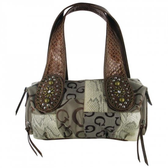 Jacquard Patchwork Purse with Croco Trim