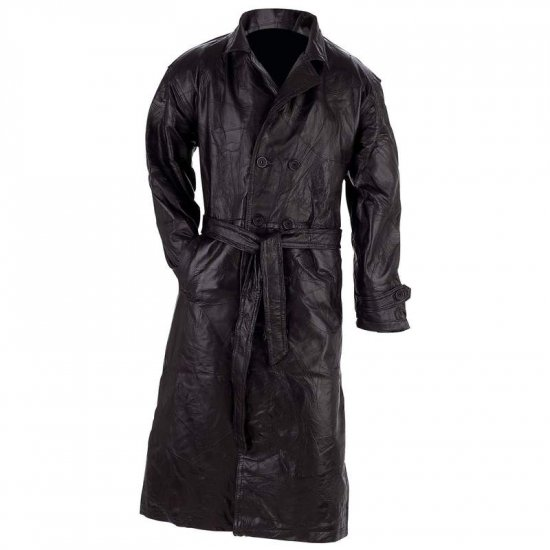 Giovanni Navarre  Italian Stone� Design Genuine Leather Trench Coat