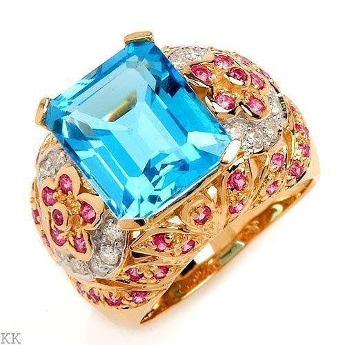 massive ring *TOPAZ*DIAMONDS*SAPPHIRES