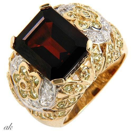 Massive ring*GARNET*DIAMONDS*PERIDOTS