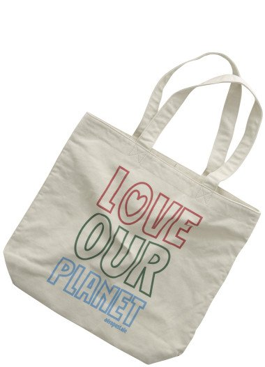 "AEROPOSTALE womens Aero everyday tote ""Love Our Planet"" - natural"