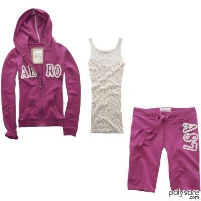 AEROPOSTALE womens Aero fleece hoodie & bermuda shorts pants outfit - Pink / Medium M