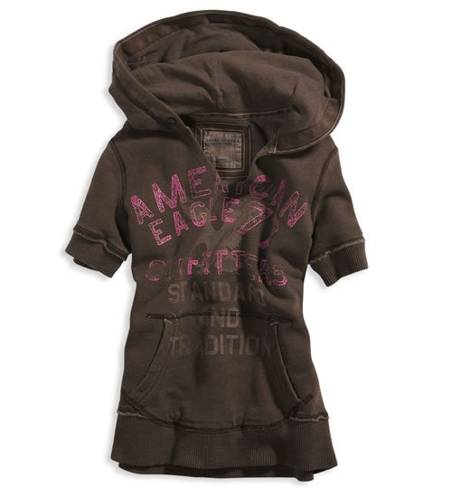 AMERICAN EAGLE womens AE pop over hoodie - brown / Medium M
