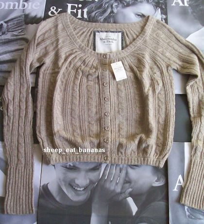 "new ABERCROMBIE & FITCH ""Bryn"" cardigan sweater - Brown / Medium 8-10"