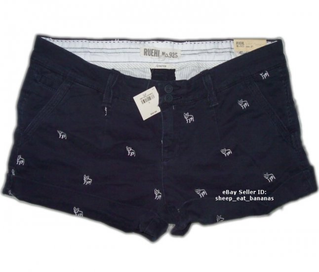 RUEHL/Abercrombie women twill logo shorts - navy blue / 8