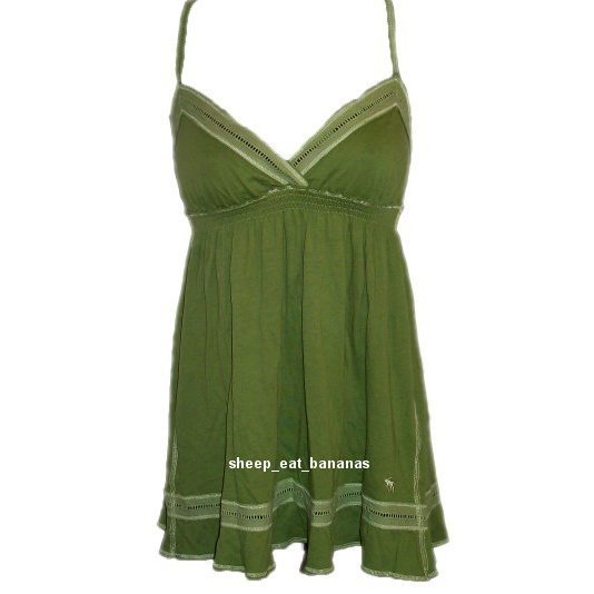 "ABERCROMBIE & FITCH ""Marcy"" knit cami tank top - Green / Medium M 8-10"