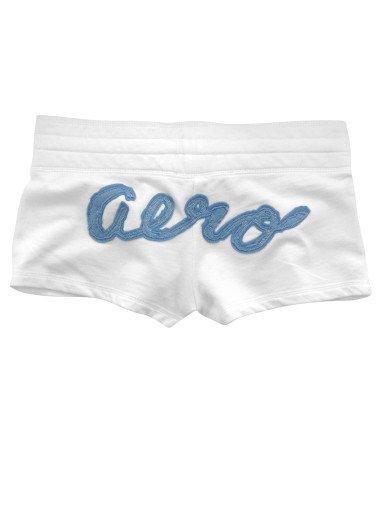 AEROPOSTALE womens Aero Applique fleece Short - White / Small S