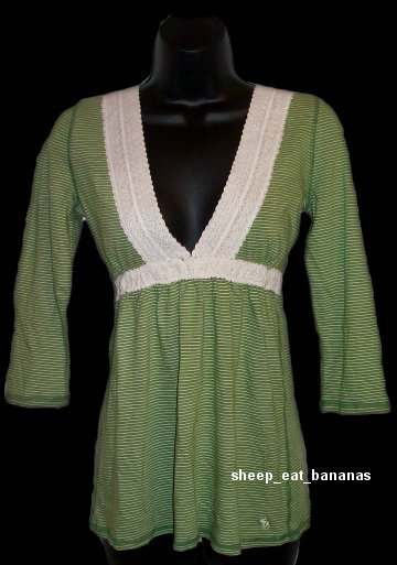 "ABERCROMBIE & FITCH ""Ophelia"" 3/4 sleeve v-neck knit top tee shirt - Green / Large L"