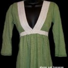 """ABERCROMBIE & FITCH """"Ophelia"""" 3/4 sleeve v-neck knit top tee shirt - Green / Large L"""