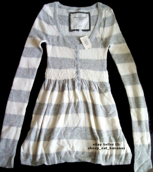 "ABERCROMBIE & FITCH womens ""Joanna"" angora cable knit babydoll sweater jumper - Gray / Medium M"