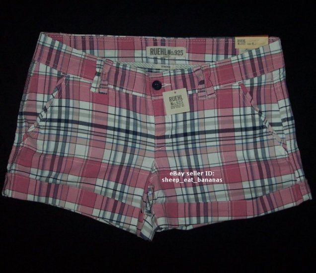 RUEHL No. 925 by Abercrombie - womens knit twill stretch plaid shorts - Pink Plaid / 8