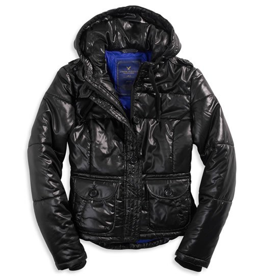 AMERICAN EAGLE AE quilted bomber jacket coat - Black / Medium M