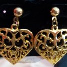 VINTAGE  Goldtone Lacy HEART PIERCED Drop EARRINGS Costume Jewelry 02ear