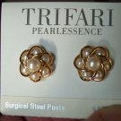 Vintage TRIFARI Pearlessence Goldtone EARRINGS Costume Jewelry 07ear Surgical Steel Posts
