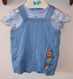 DISNEY INFANT Boy's Tropical Winnie The Pooh 2pc OUTFIT SET Onesie Shortall 3 - 6 Months locationw8