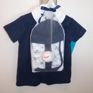 FIRST MOMENTS INFANT Boy's Navy Baseball Buddies LAYETTE Set 3 - 6 Months locationw9
