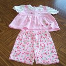 TINY TOTS Pink Girls SHORT OUTFIT 6 - 9 Months Butterflies Flowers (bin3)